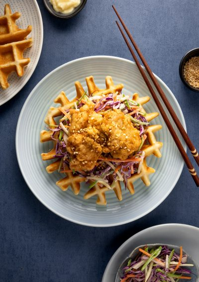 High protein Japanese style chicken and waffles