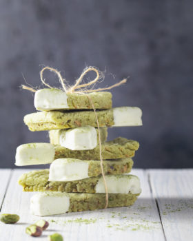 Matcha and pistachio shortbread