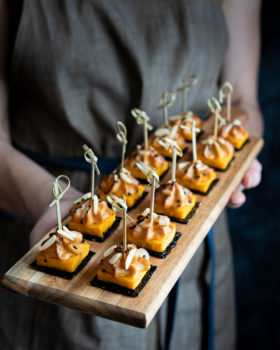 Miso and tahini yoghurt swirls on pumpkin squares